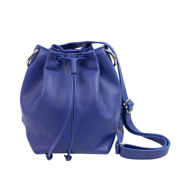 Leather bucket bag in blue