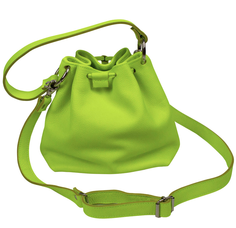 Leather bucket bag in yellow neon on a white background