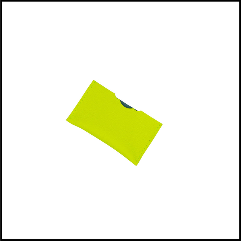 Leather credit card in neon yellow