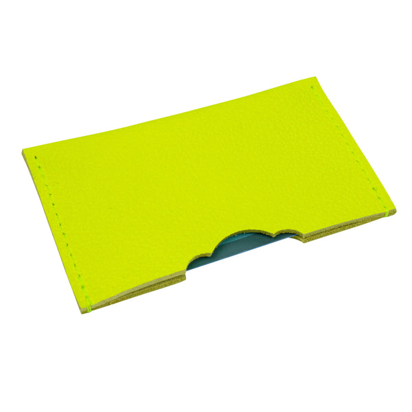 Leather credit card holder in neon color