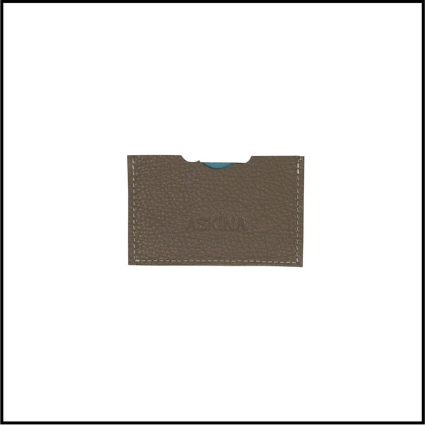 Leather credit card holder-two toned in a white background
