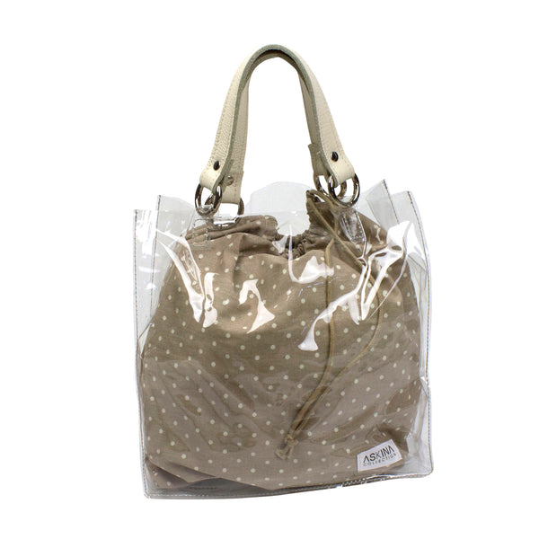 Transparent tote bag with interchangeable strap