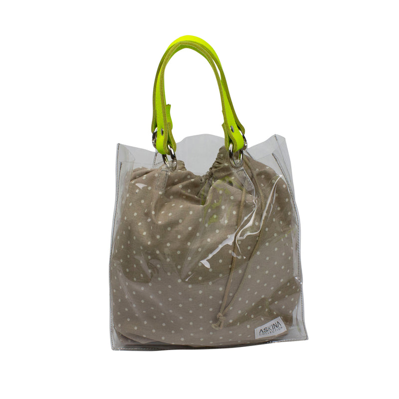 Transparent tote bag with interchangeable strap - cotton fabric