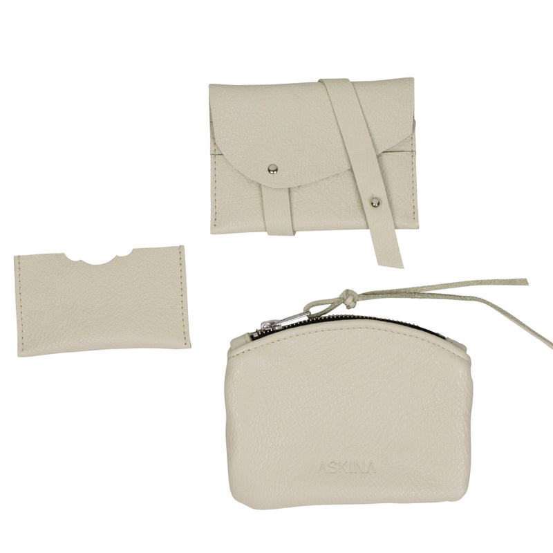 Set of leather accessories (small purse and credit card holder) on a white background
