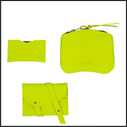 Neon yellow leather accessories - two cards holder and small purse