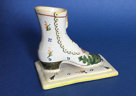 Unusual Vintage Hand Painted  Quimper Boot