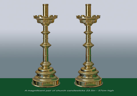 A Magnificent pair of Church Candlesticks