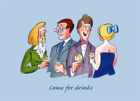 Social 2 - Come for Drinks - Pack of 5 postcards