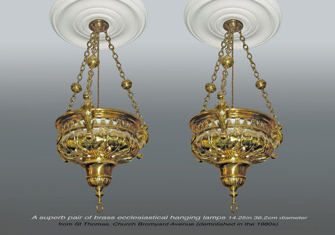 A superb pair of Ecclesiastical Hanging Lamps