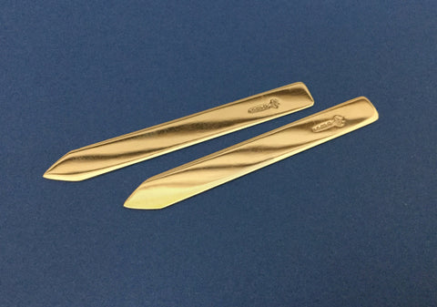 A pair of Aspreys 9ct Gold Collar Stiffeners in case   SOLD