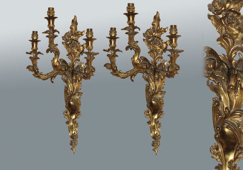 A Fine Pair of Rococo Wall Sconces