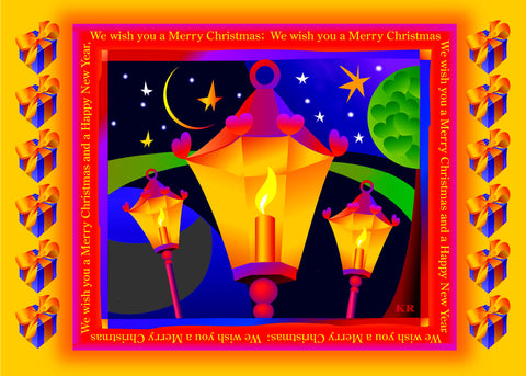 Christmas Lanterns - Pack of 5 postcards