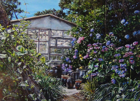Original Painting: Greenhouse and Traditional Pots