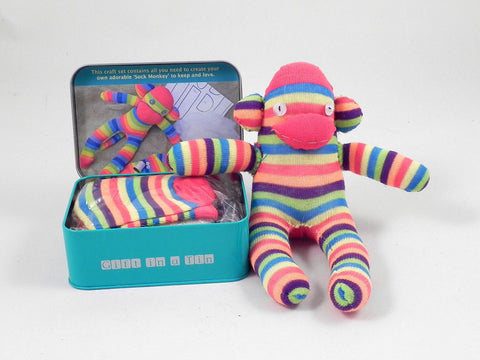 Gifts in a Tin Sock Monkey