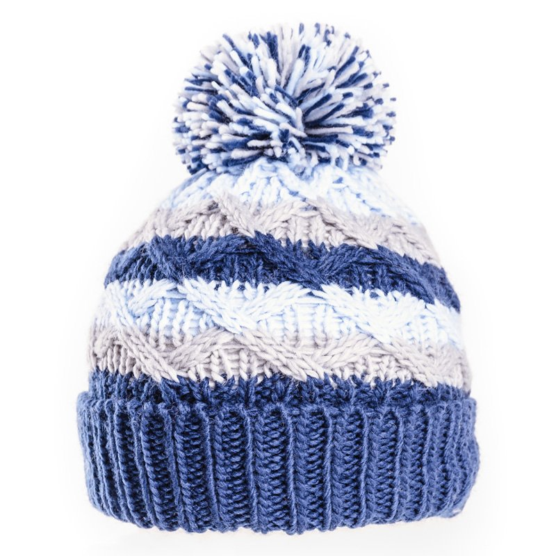 Baby Cable Knit Bobble Hat Blue