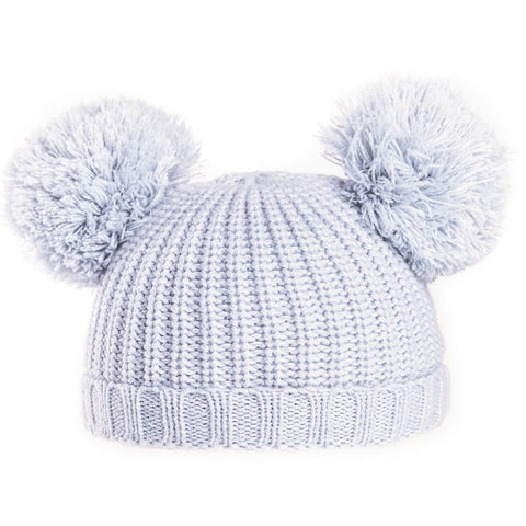 Baby Double Pom Pom Hat Grey