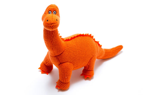 Best Years Knitted Mini Dinosaur Rattle - Diplodocus