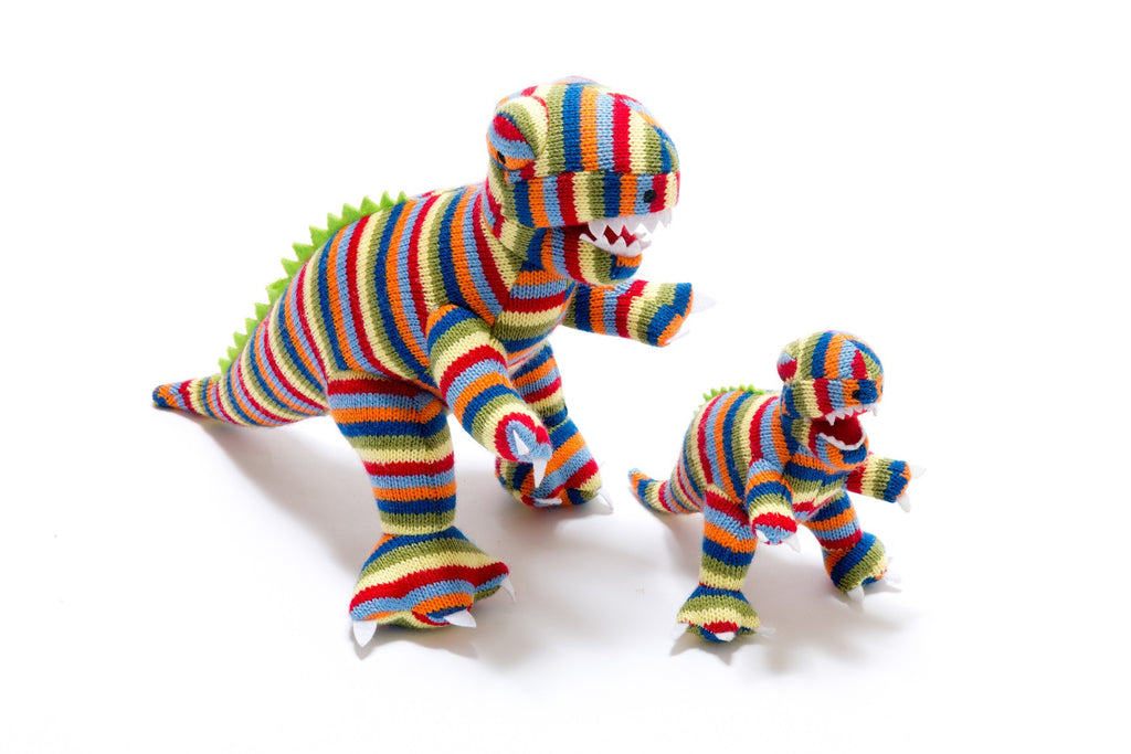 Best Years Knitted Mini Dinosaur Rattle - Stripy T Rex