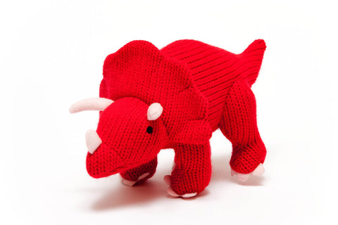 Best Years Knitted Baby Toy Red Triceratops Dinosaur