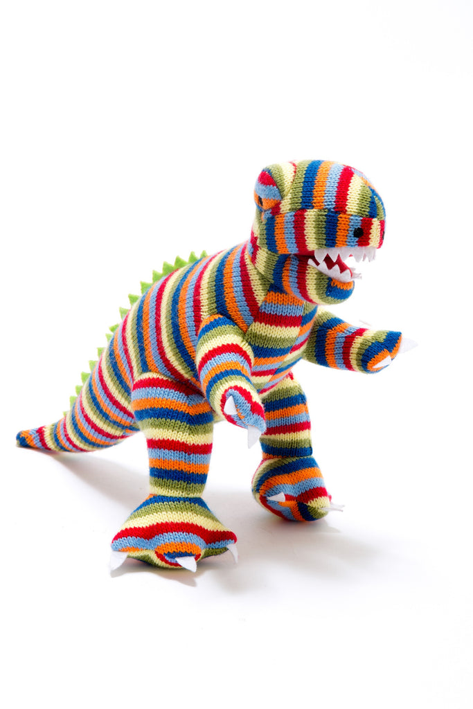 Best Years Knitted Baby Toy Stripy T Rex Dinosaur