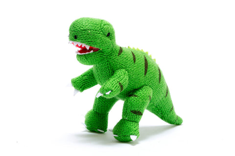 Best Years Knitted Mini Dinosaur Rattle - Green T Rex