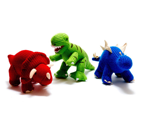 Best Years Knitted Mini Dinosaur Rattle - Triceratops