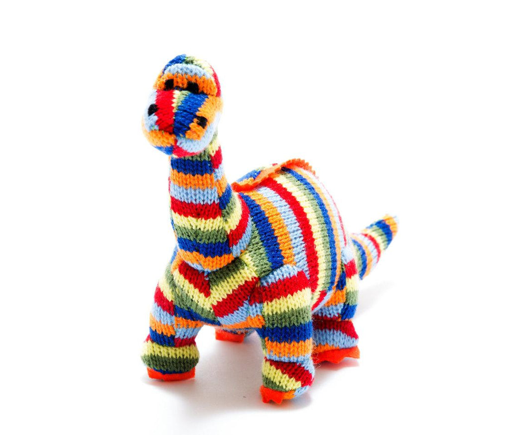 Best Years Knitted Mini Dinosaur Rattle - Diplodocus Striped