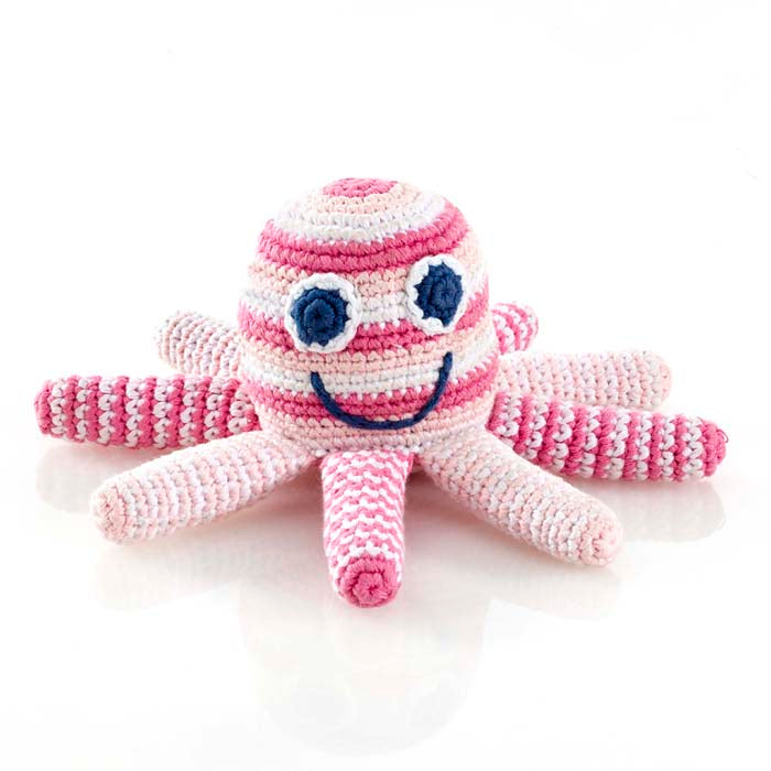 Pebble Fairtrade Crochet Octopus Rattle-Pink