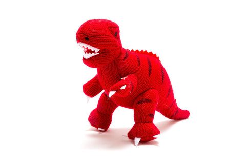 Best Years Knitted Mini Dinosaur Rattle - Red T Rex