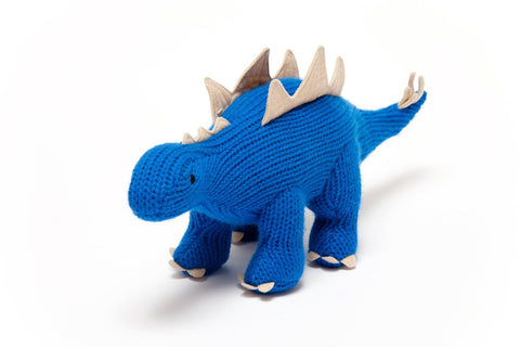 Best Years Knitted Baby Toy Blue Stegosaurus Dinosaur