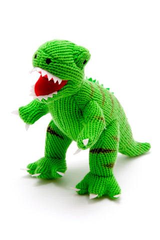 Best Years Knitted Baby Toy Green T Rex Dinosaur