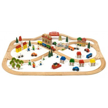 BigJigs Wooden Train Set, Town and Country Set