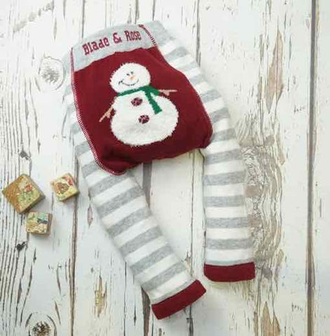 Blade and Rose Baby Fluffy Christmas Leggings, Snowman