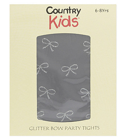 Country Kids Girls Lurex Bow Tights Black