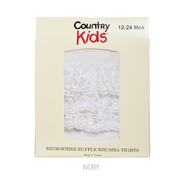 Country Kids Ruffle Rhumba Baby Tights Ivory