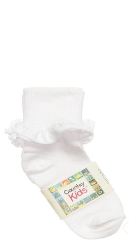 Country Kids Girls Ruffle Frill Socks, White