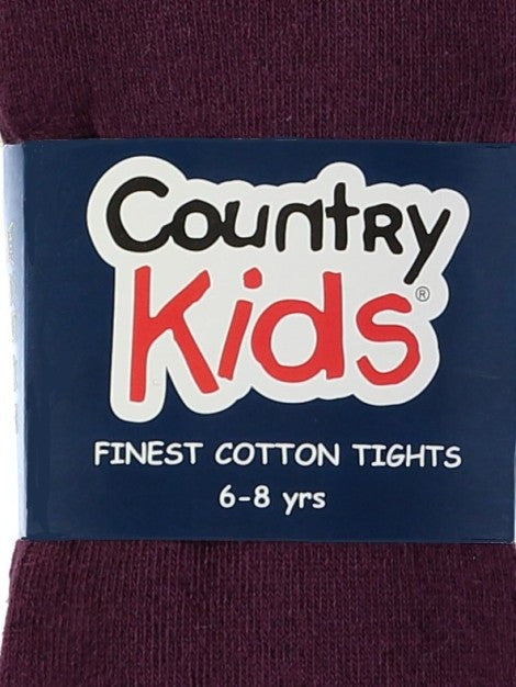 Country Kids Luxury Cotton Tights Aubergine