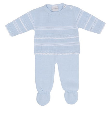 Knitted Jumper and Trouser Set Blue