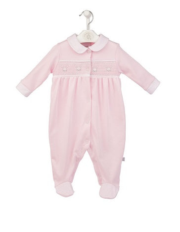 Cotton Smocked Bunny Sleepsuit