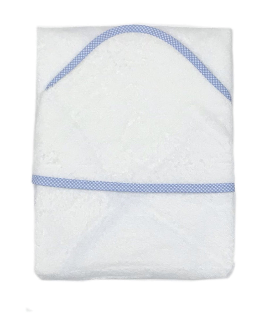 Baby Hooded Towel Gingham Trim Blue