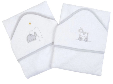 Baby Hooded Towel White with Grey Trim