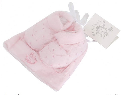 Tiny Bear Hat and Bootees Gift Set Pink