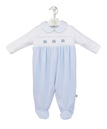 Cotton Smocked Trains Sleepsuit