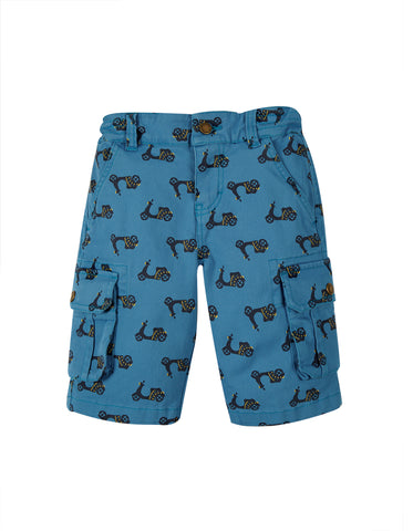 Frugi Boys Explorer Shorts Sea Blue Bikes