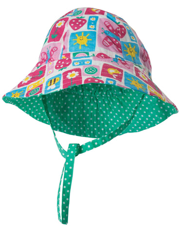 Frugi Baby Girl Reversible Ditsy Hat Strawberry Patchwork