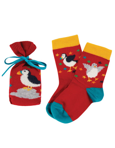 Frugi Super Socks in a Bag Red Puffin