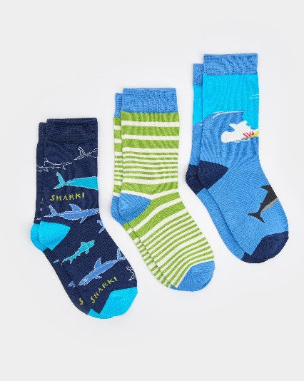 Joules Boy Brill Bamboo Socks 3 Pack, Shark