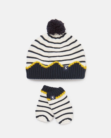 Joules Baby Crown Hat & Mittens Set, Cream Navy Stripes