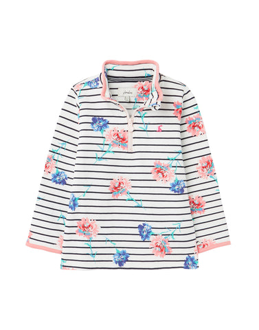 Joules Girls Fairdale Sweatshirt White Stripe Floral