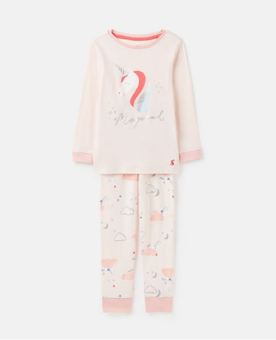 Joules Girls Sleepwell Pyjamas Pink Unicorn